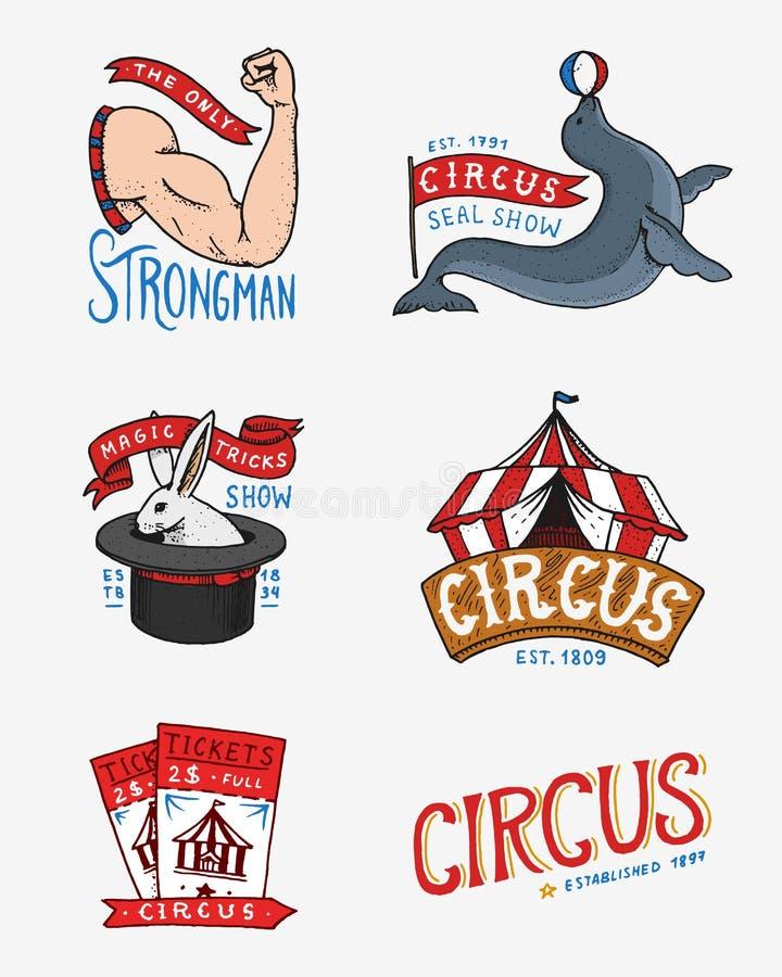 Carnaval-Circuskenteken Banner of affiche met dieren strongman en verbinding, hazen in de hoed, magisch in de tent festival stock illustratie