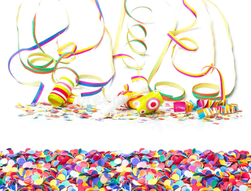 Carnaval, confettien, kleurrijke achtergrond royalty-vrije stock foto's