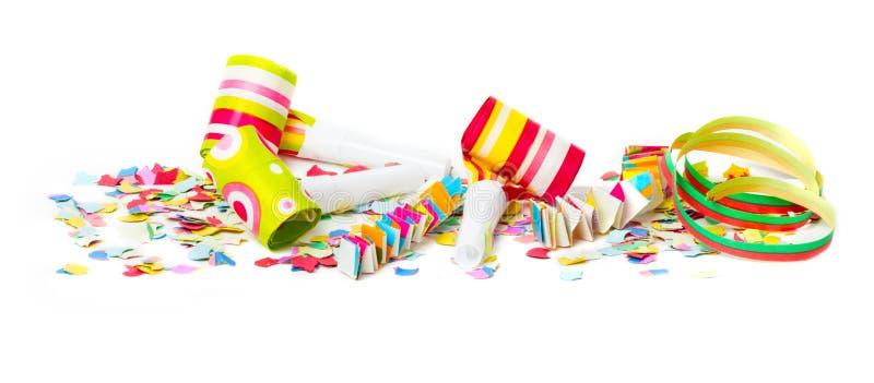 Carnaval, confettien, kleurrijke achtergrond stock fotografie
