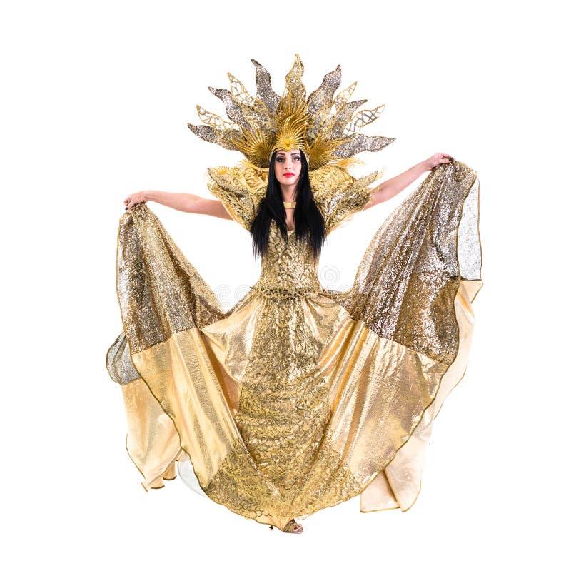 Carnaval-dansersvrouw die met kroon dansen royalty-vrije stock fotografie