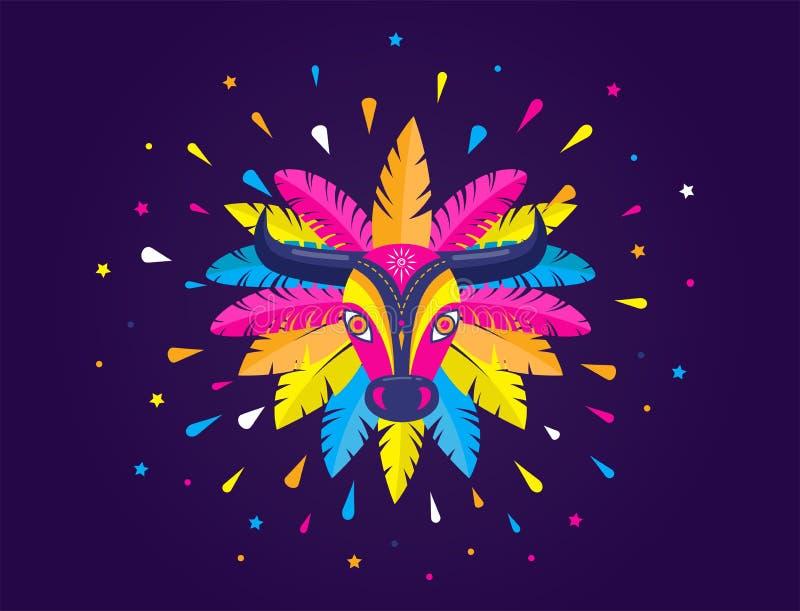 Carnaval de Barranquilla, partito colombiano di carnevale Illustrazione, manifesto ed aletta di filatoio di vettore fotografia stock