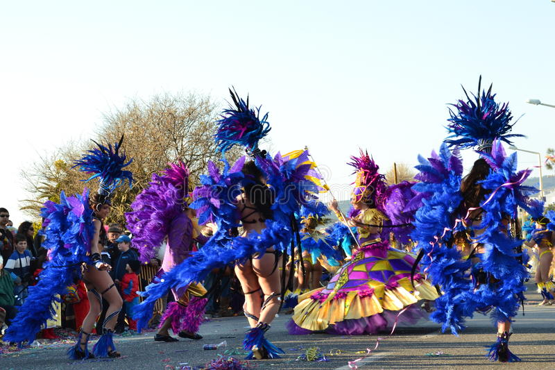 Carnaval de la escuela de la samba de Figueira DA Foz imagen de archivo libre de regalías