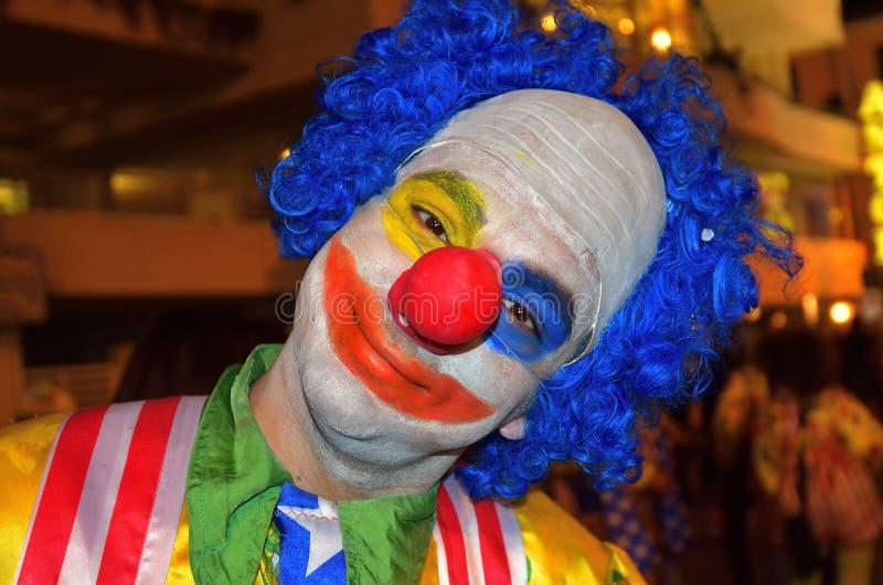 Carnaval de la noche de Viareggio, Italia Payaso foto de archivo libre de regalías