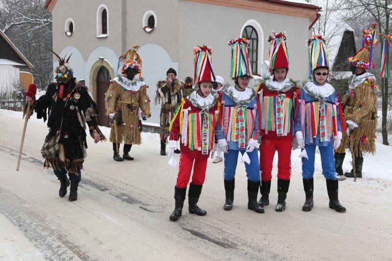Carnaval de Masopust Procissão cerimonial checa de Shrovetide fotografia de stock