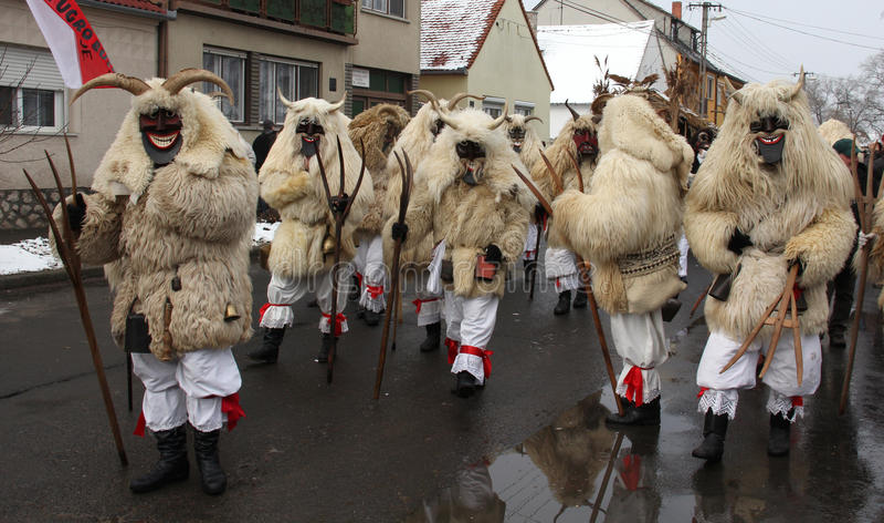 Carnaval de Mohacsi Busojaras en Hongrie, février 2013 photo libre de droits