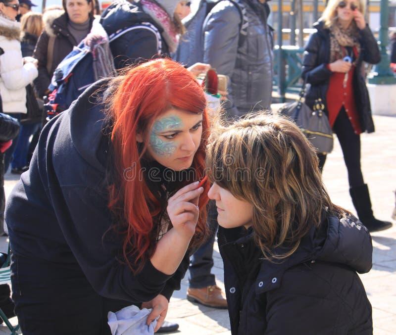 Carnaval de Venise, peinture de visage photo stock