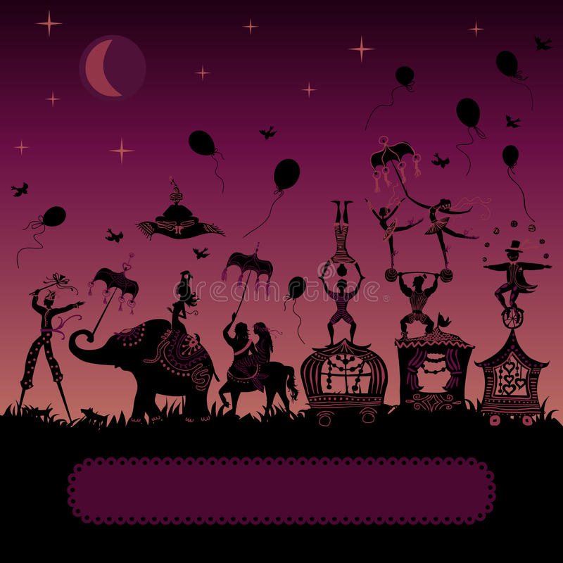 Carnaval del circo que viaja en la noche ilustración del vector