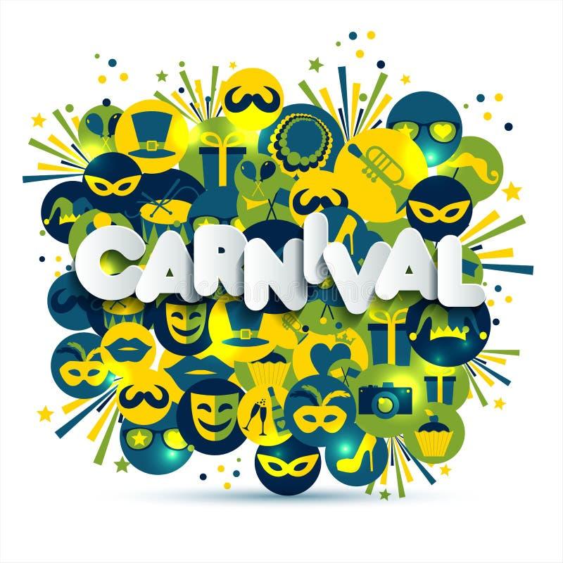 Carnaval del vector y ejemplo brillantes del carnaval de la muestra en iconos de los multicolors Carnaval, primavera, texto del e libre illustration