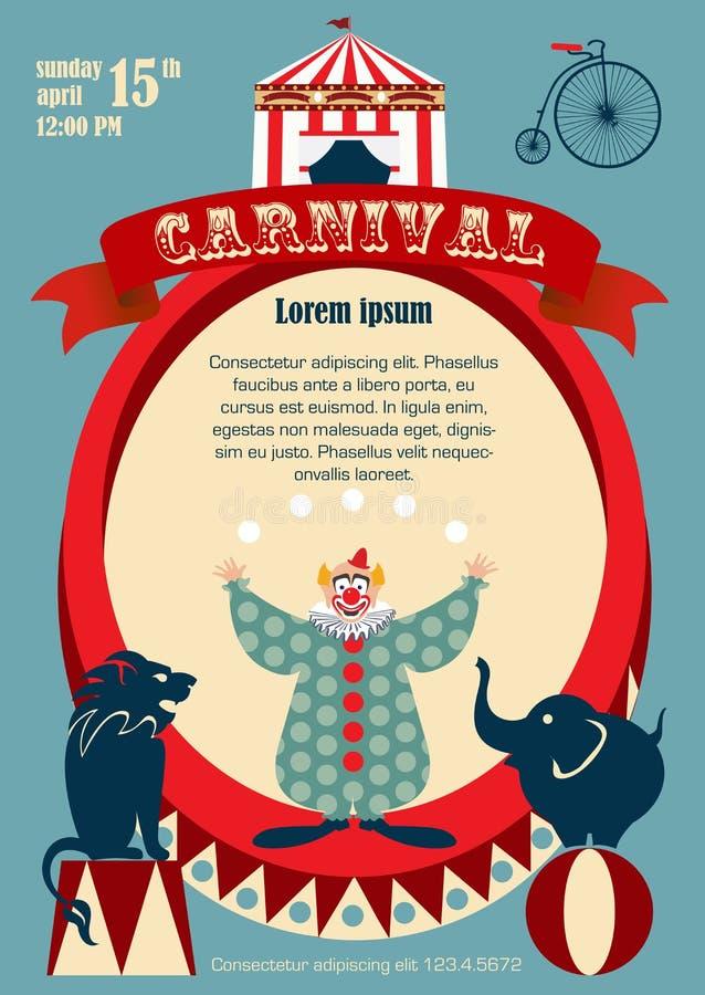 Carnaval del vintage o cartel del circo stock de ilustración