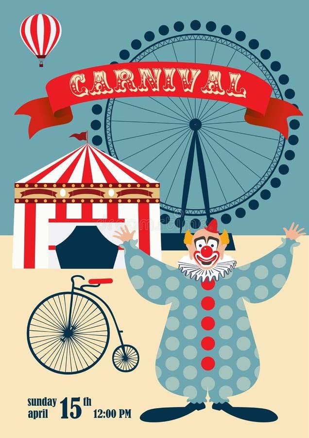 Carnaval del vintage o cartel del circo ilustración del vector
