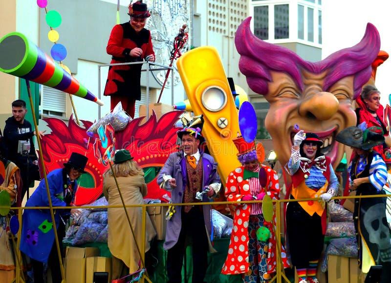 Carnaval do capital de Cadiz, a Andaluzia Espanha o 3 de março de 2019 fotografia de stock royalty free