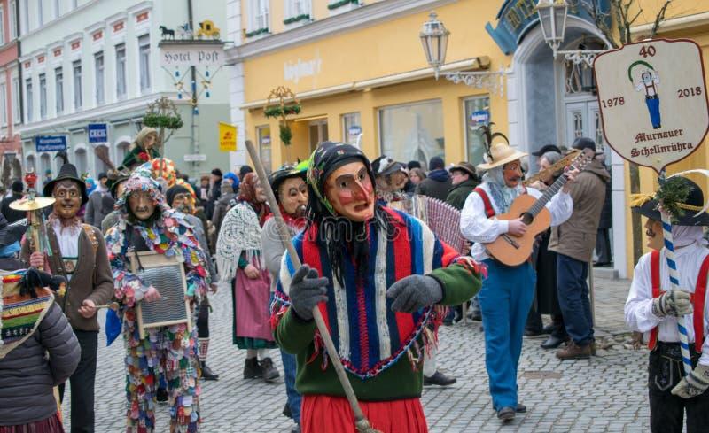 Carnaval em Murnau, Baviera, Alemanha-fevereiro 11,2018 imagem de stock