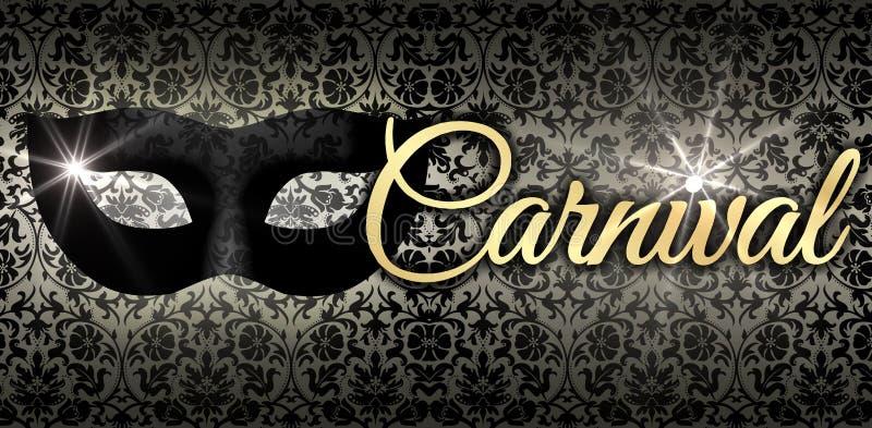 Carnaval en or, avec le masque noir image stock