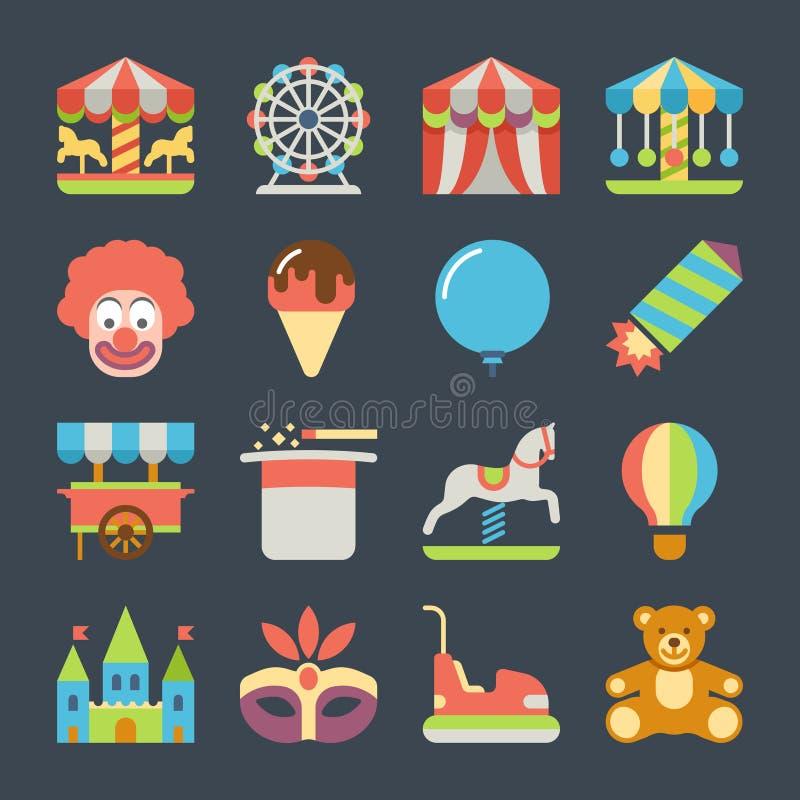 Carnaval en iconos planos del vector del parque de atracciones libre illustration