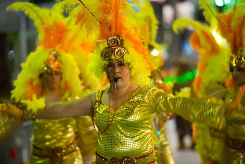 Carnaval espagnol chez Sitges dans la nuit images libres de droits