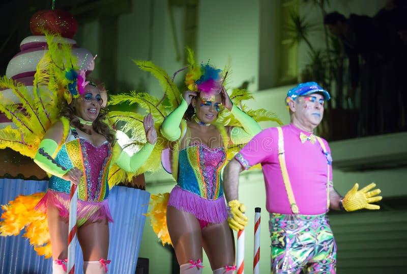 Carnaval espagnol chez Sitges dans la nuit l'espagne image stock