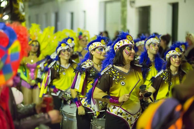 Carnaval espagnol dans la nuit Sitges photos libres de droits