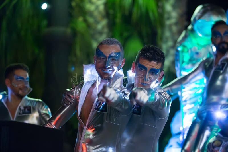 Carnaval espagnol dans la nuit Sitges, Catalogne photo libre de droits