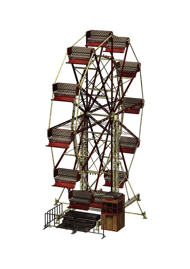 carnaval Ferris Wheel de la representación 3D en blanco libre illustration