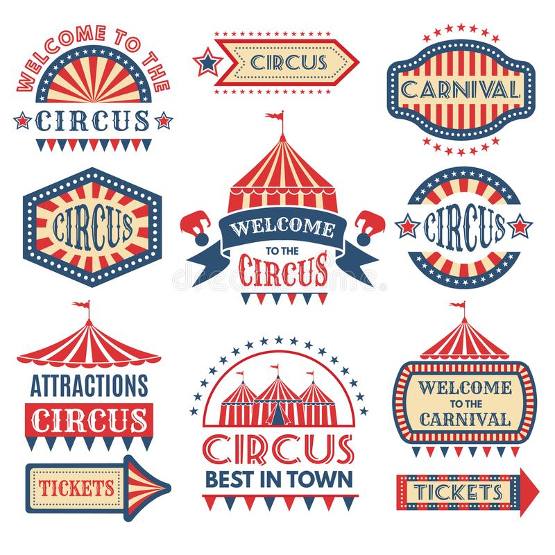 Carnaval-gebeurtenis logotypes malplaatje De vector geplaatste kentekens isoleren royalty-vrije illustratie
