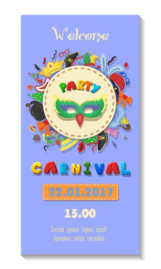 Carnaval-het ontwerp van de partijaffiche Vlieger of uitnodigingsmalplaatje De vectorillustratie van het Funfairkaartje vector illustratie
