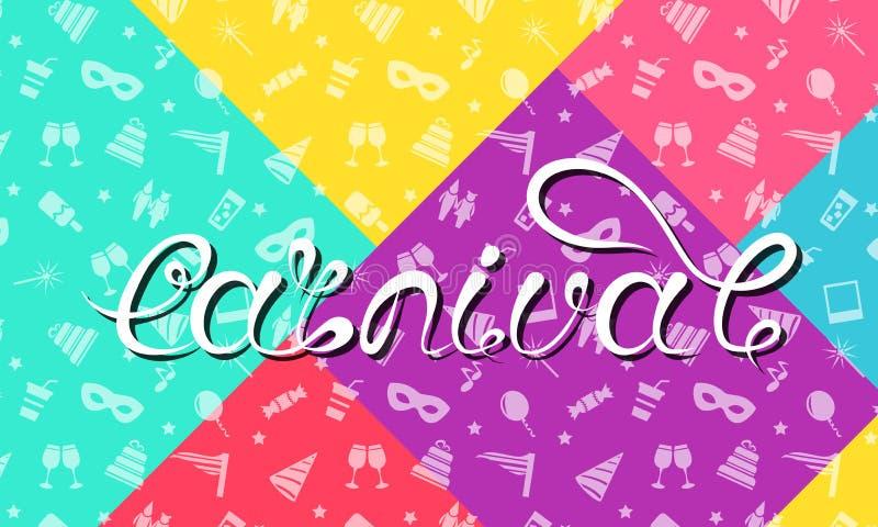 Carnaval-het Van letters voorzien Ontwerp, Kalligrafische Typografie, Kleurrijke Grappige Textuur, Partijachtergrond stock illustratie
