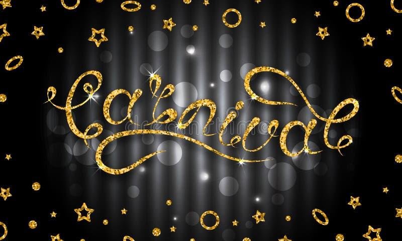 Carnaval-het Van letters voorzien Ontwerp, Kalligrafische Typografie Schitter Patroon voor Partij royalty-vrije illustratie