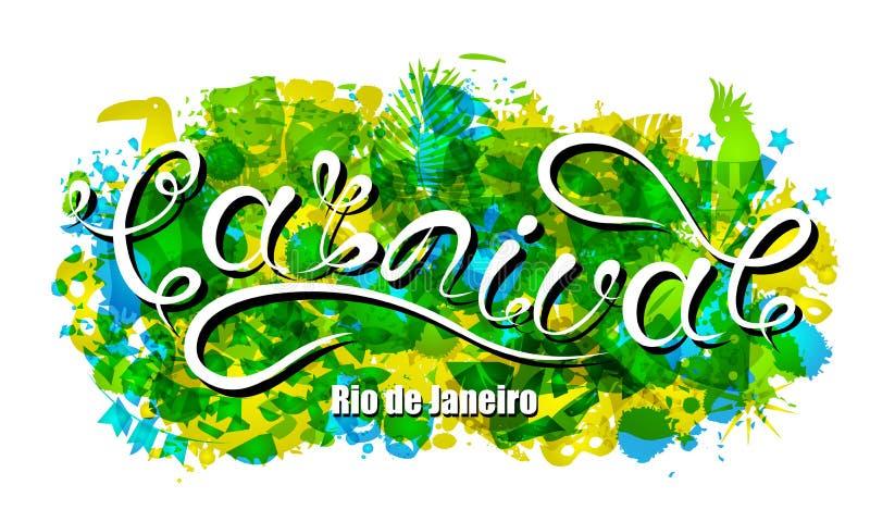 Carnaval-het Van letters voorzien voor Rio de Janeiro, Achtergrondkleuren van de Braziliaanse Vlag Kalligrafietekst voor Partij royalty-vrije illustratie