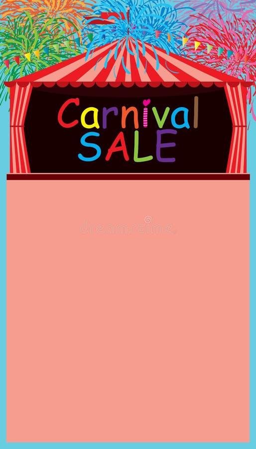 Carnaval-het vuurwerk ruimtemalplaatje van de tentverkoop stock illustratie