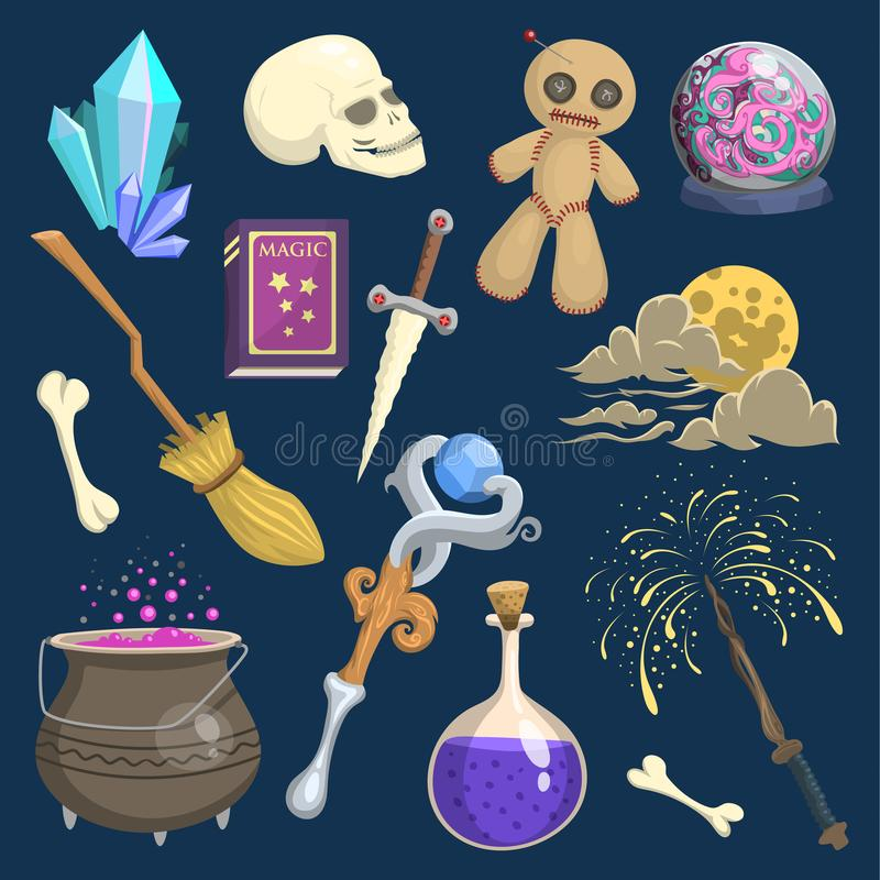 Carnaval místico mágico de la fantasía de la vara del mago del símbolo del truco del wodo del mago de la brujería del vector y de stock de ilustración