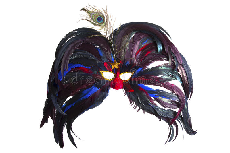 Carnaval Mask. Big feathers carnaval mask made with Color isolated on White vector illustration