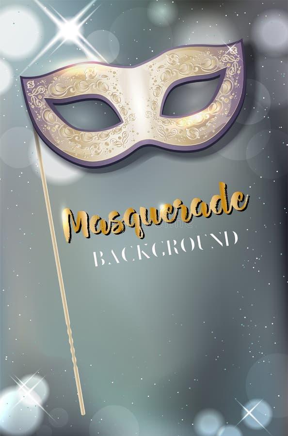 Carnaval-masker met handvat op glanzende achtergrond met exemplaarruimte vector illustratie