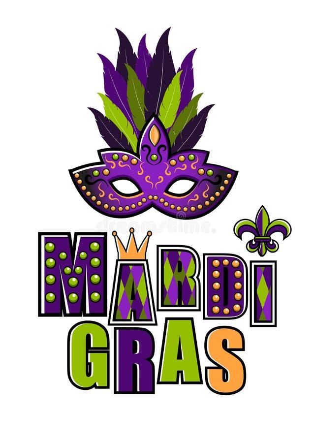 Carnaval-masker voor groetkaart Vectorembleem van Mardi Gras met masker Mardi Gras-partijontwerp Mardi Gras Carnaval Vette Dinsda stock illustratie
