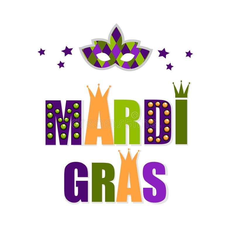 Carnaval-masker voor groetkaart Vectorembleem van Mardi Gras met masker Mardi Gras-partijontwerp Mardi Gras Carnaval Vette Dinsda vector illustratie