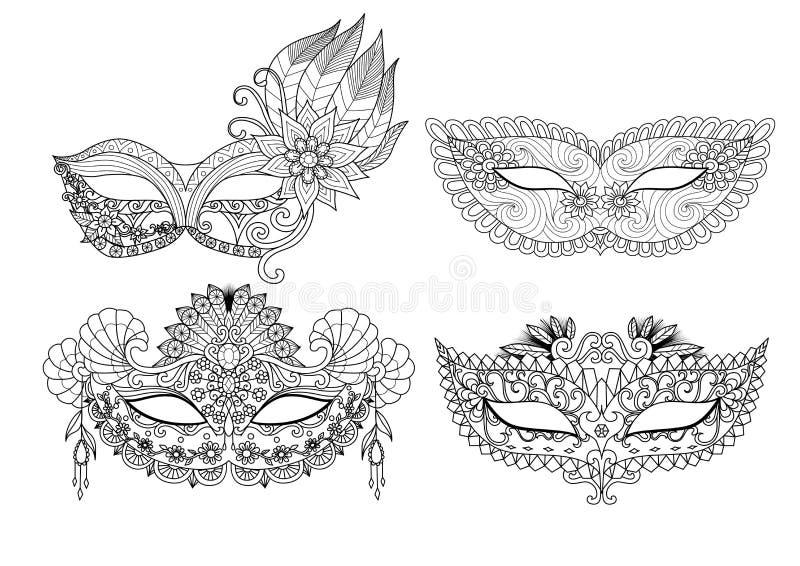 Carnaval-maskerontwerpen voor het kleuren van boek voor volwassene royalty-vrije illustratie