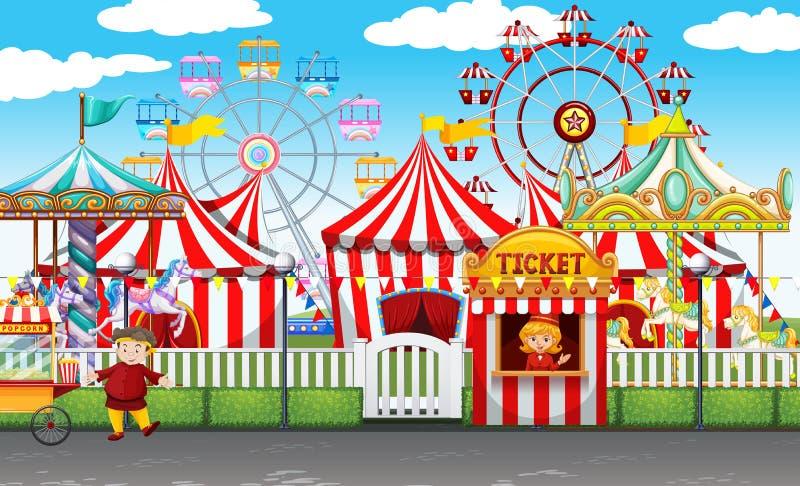 Carnaval met vele ritten en winkels stock illustratie