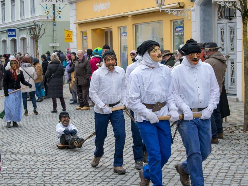 Carnaval in Murnau, Beieren, 11,2018 Duitsland-Februari royalty-vrije stock afbeelding