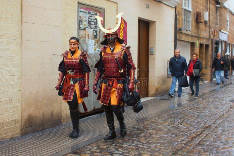 Carnaval na Espanha no tempo nebuloso imagem de stock