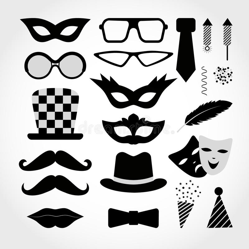 Carnaval negro de los iconos aislado en el fondo blanco Ilustración del vector Muestras y símbolos de la diversión libre illustration