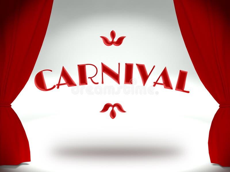 Carnaval op theaterstadium, uitnodiging royalty-vrije illustratie