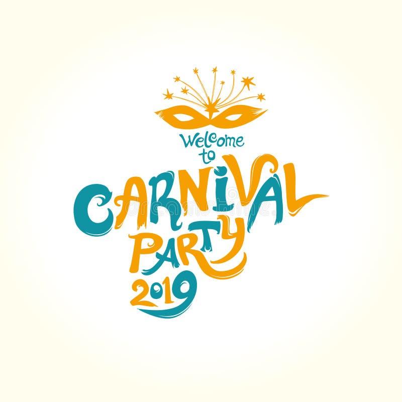 Carnaval-Partij 2019 Met de hand geschreven helder embleemmalplaatje aan Carnaval royalty-vrije illustratie