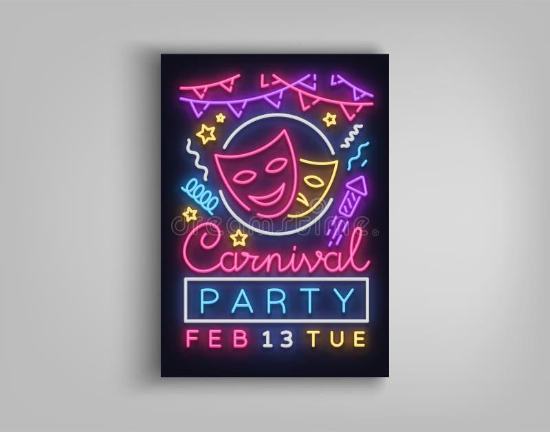 Carnaval-partijaffiche in neonstijl Neonteken, ontwerpmalplaatje, heldere brochure, nacht lichte affiche Helder neon vector illustratie