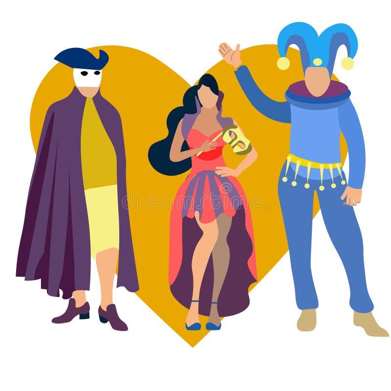 Carnaval-partijpictogrammen met mensen worden geplaatst die kostuums vlak geïsoleerd vector dragen die stock illustratie