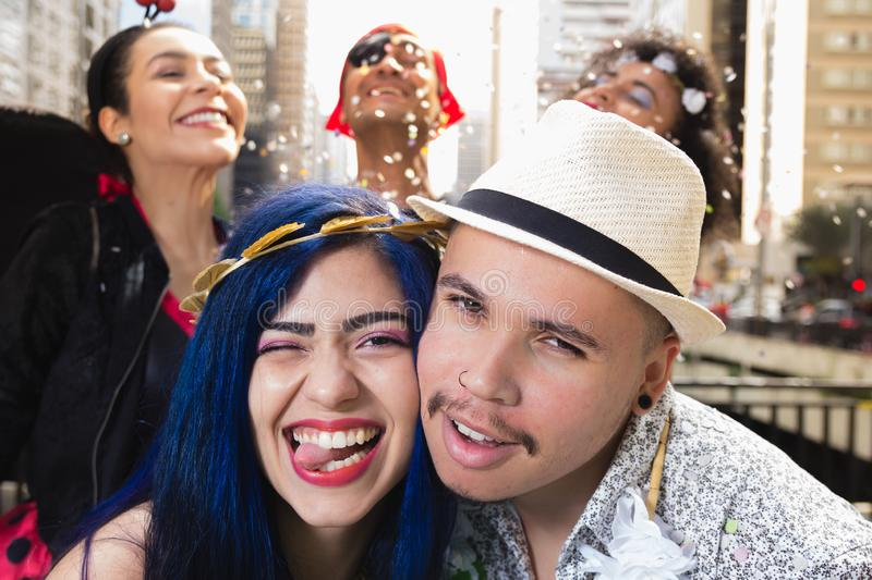 Carnaval party. Group of Brazil people in costume celebrating carnival in the city. Brazilian revelers having fun in parade. Carnaval party. Group of Brazil stock photos