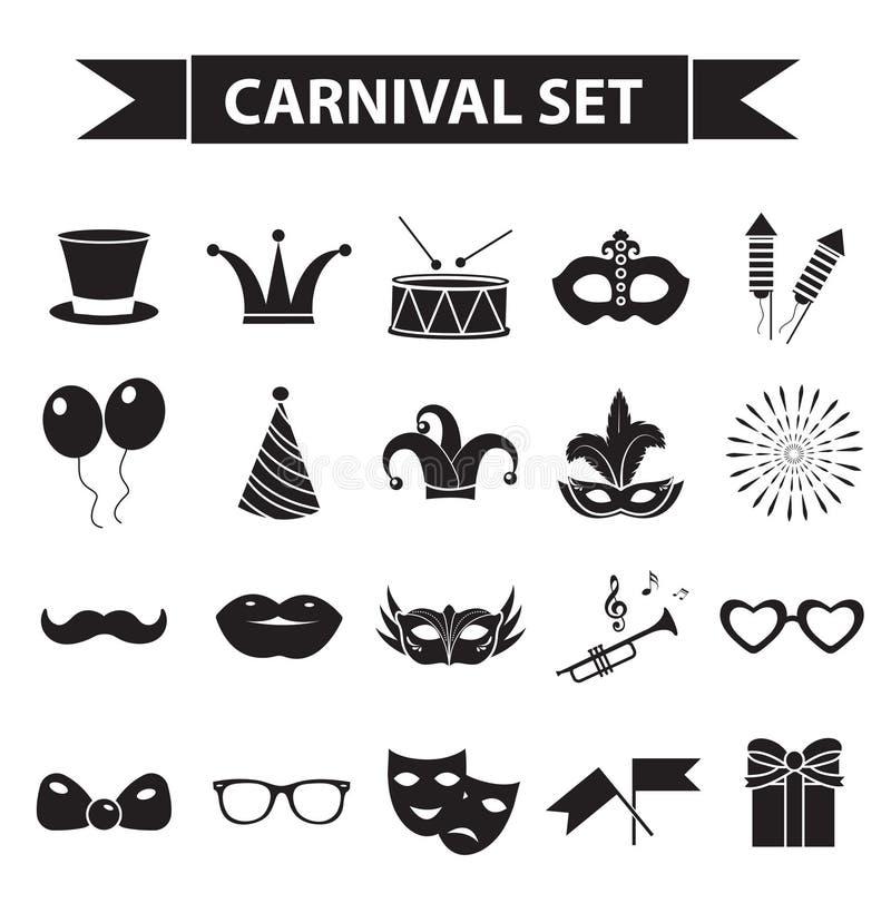 Carnaval-pictogramreeks, zwarte silhouetstijl Partij, de tekens van de maskeradeinzameling, symbolen, op witte achtergrond vector illustratie