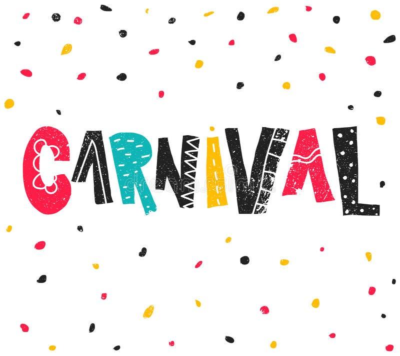 Carnaval populaire du Brésil d'événement Titre avec les éléments colorés de partie Confettis colorés et lettrage grunge tiré par  illustration stock
