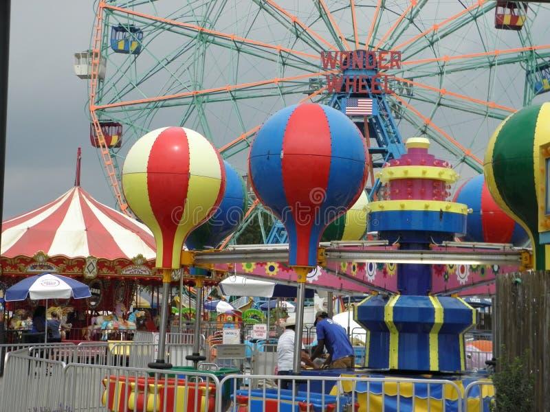 Carnaval-Ritten in Coney Island, de Stad van New York royalty-vrije stock foto's