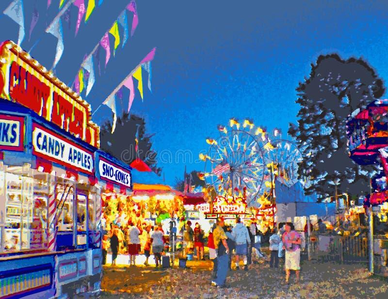 Carnaval situado a mitad del camino en el crepúsculo ilustración del vector