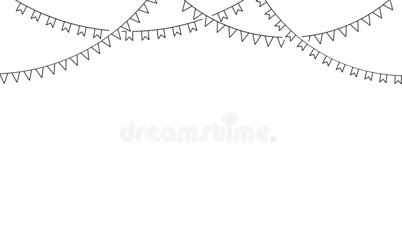 Carnaval-slinger met vlaggen Decoratieve zwart-witte partijwimpels vector illustratie