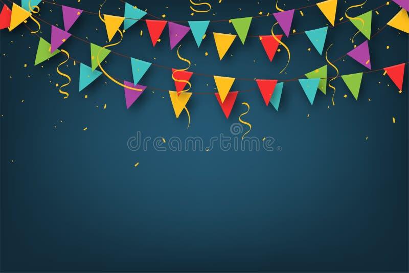 Carnaval-slinger met wimpels Decoratieve kleurrijke partijvlaggen met confettien voor verjaardagsviering, festival royalty-vrije illustratie
